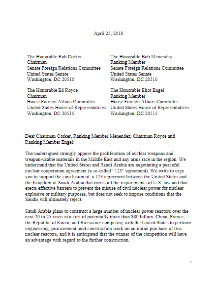 Non-Proliferation Letter to Congress about KSA 123 Agreement